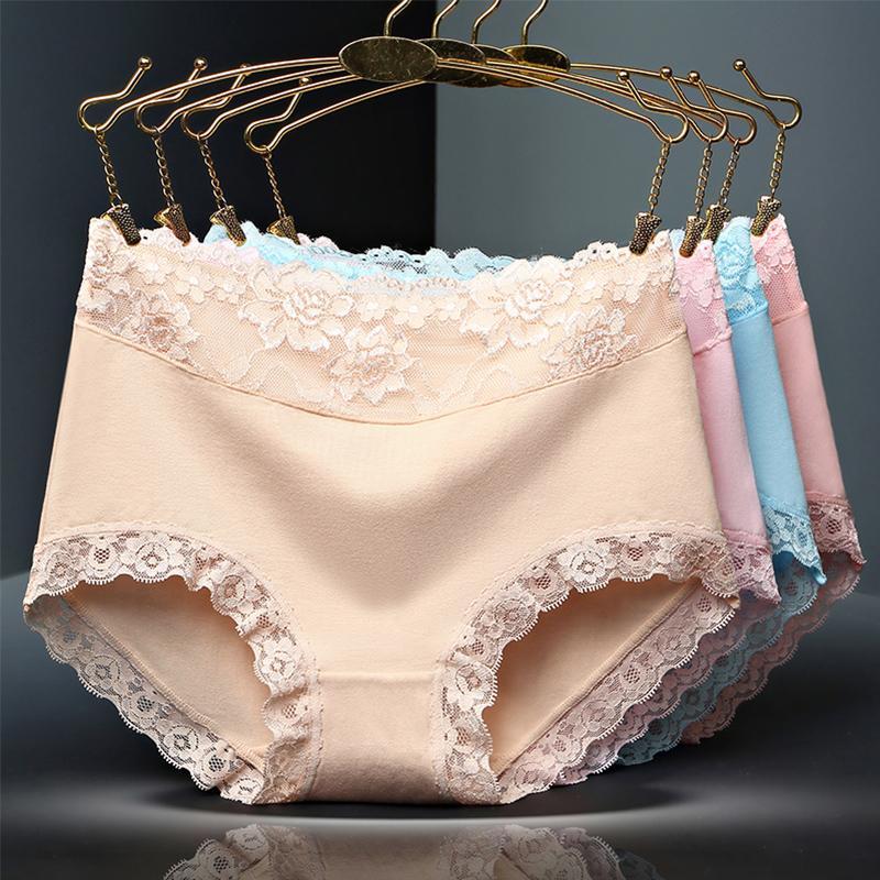 【买4送2】女士中腰蕾丝纯棉内裤