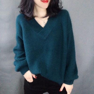 网红羊绒衫女秋冬欧洲站针织v领毛衣宽松慵懒风套头百搭打底衫