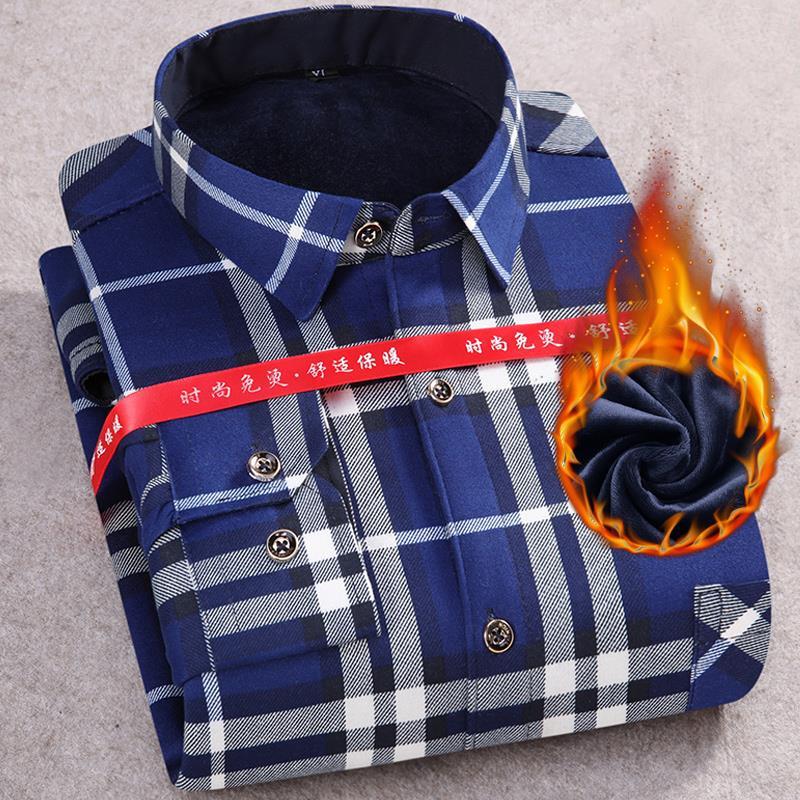 冬季男士保暖衬衫长袖加绒加厚格子中老年爸爸装休闲宽松中年衬衣