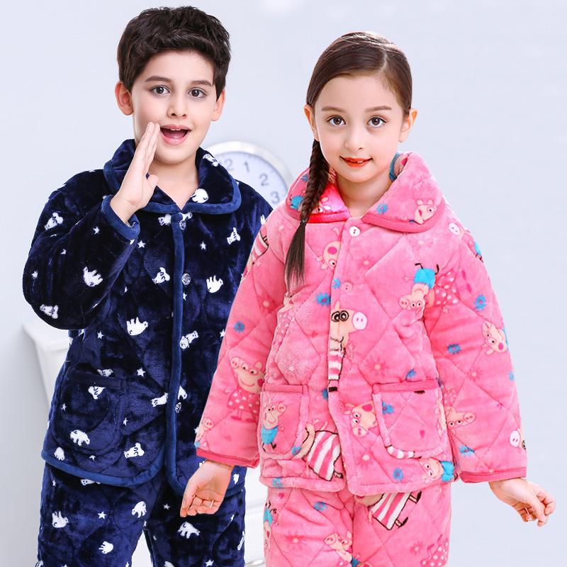 男女童三层夹棉加厚法兰绒睡衣套装