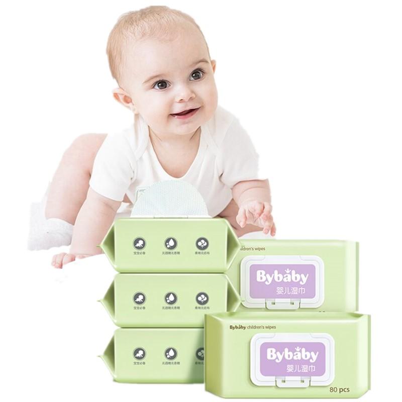 芭迪婴儿湿巾纸新生手口专用屁宝宝幼儿湿纸巾80抽5包家用大包装