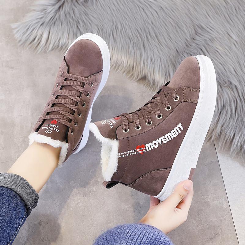 高帮鞋女秋冬季鞋子女2019新款加绒棉鞋女运动百搭韩版学生女短靴