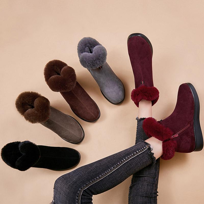 冬妈妈棉鞋防滑中老年女短靴加绒加厚保暖雪地靴孕妇老人平底短筒