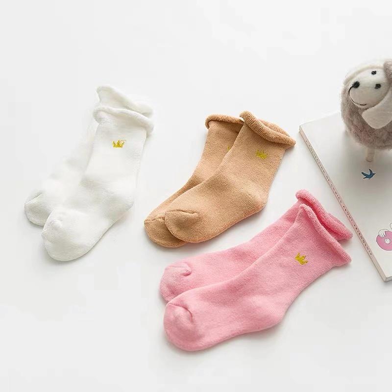 婴儿袜子春秋纯棉松口无骨袜初生婴幼儿袜新生儿袜子纯色女宝宝袜-给呗网