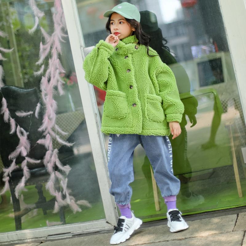 女童颗粒绒外套秋冬新款立领毛毛上衣中大童仿皮草儿童大衣洋气潮