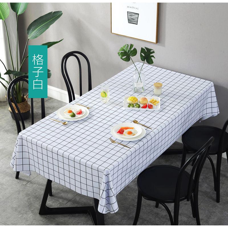 餐桌布防水防烫防油免洗布艺pvc格子塑料台布桌垫北欧网红ins课桌