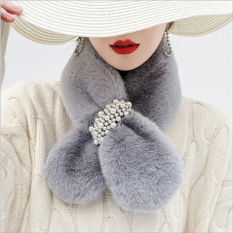 韩国爆款珍珠毛毛围巾女冬季百搭毛绒保暖时尚獭兔毛围脖毛领子