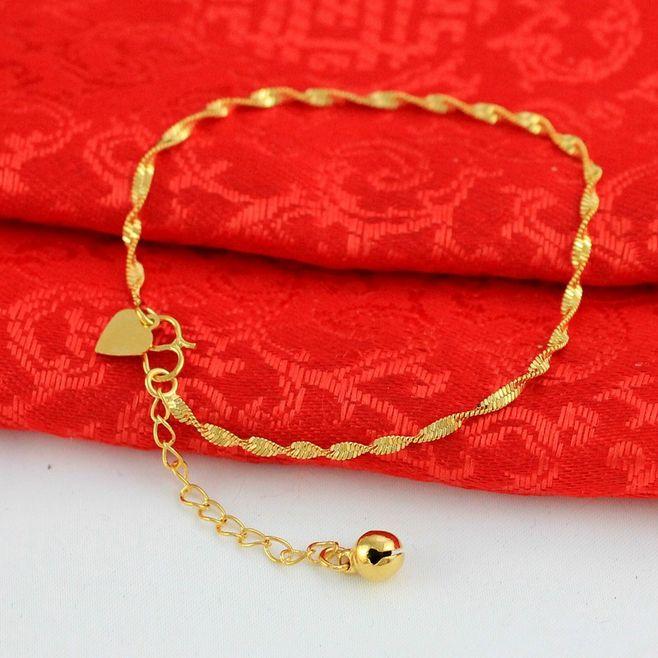 黄金手链99足金转运珠红绳路路通男女情侣款手绳本命年