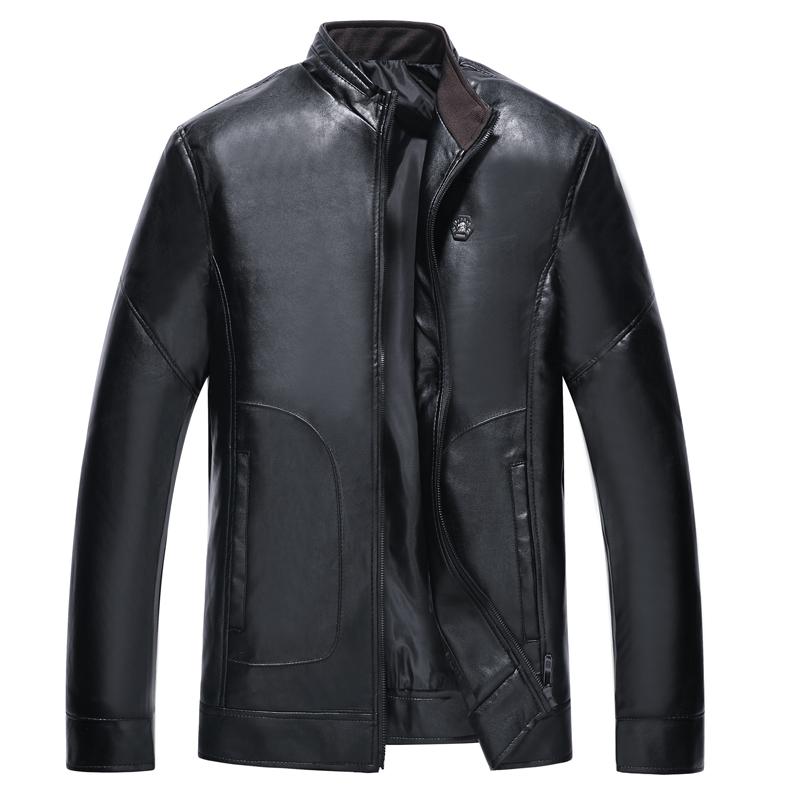新款中老年人皮衣棉衣男装外套加绒加厚中年男士爸爸皮夹克秋冬季