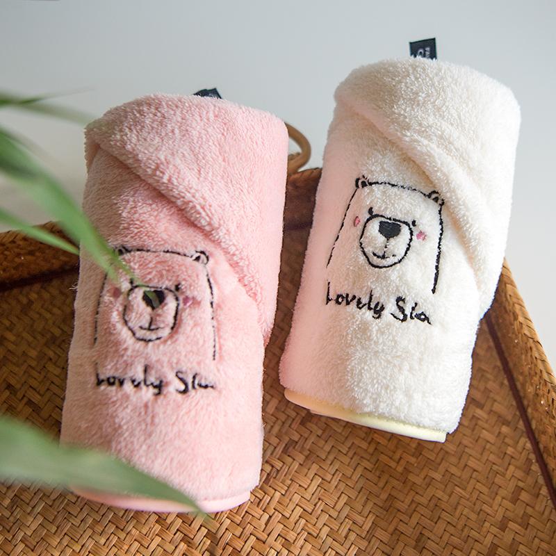 洗脸毛巾纯棉家用白色珊瑚绒吸水成人男女情侣一对可爱柔软洗澡巾