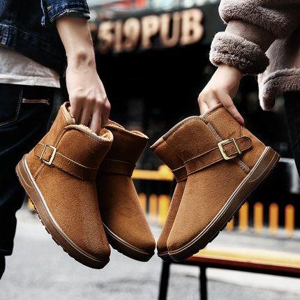 冬季男女雪地靴情侣靴子加绒加厚女靴学生短筒保暖棉靴棉鞋潮鞋