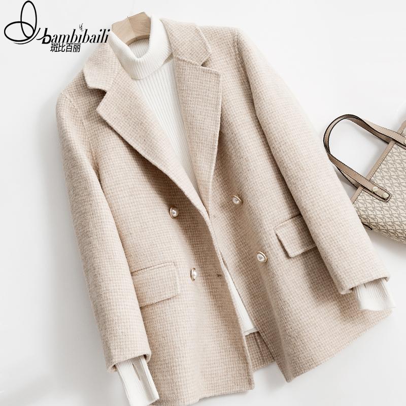 双面羊绒大衣女2019新款短款冬反季千鸟格格子小个子羊毛呢子外套
