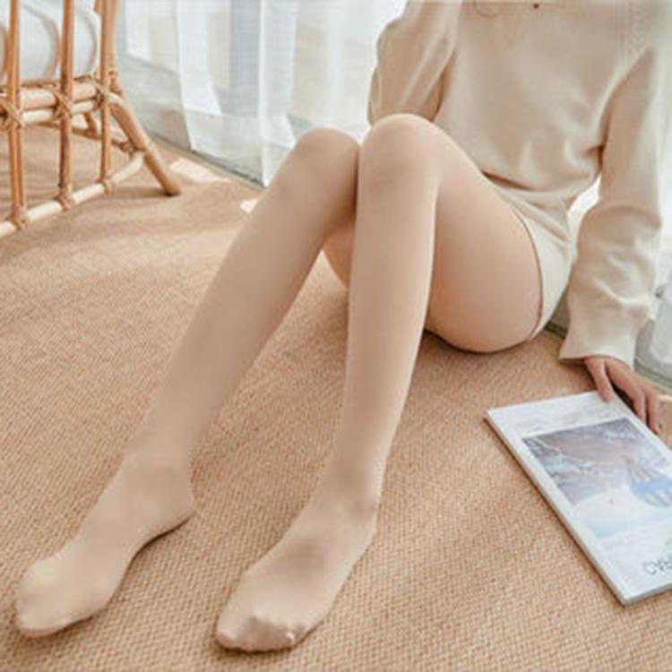 光腿肉色打底裤女外穿秋冬加绒加厚连袜裤百搭瘦腿神器保暖踩脚裤