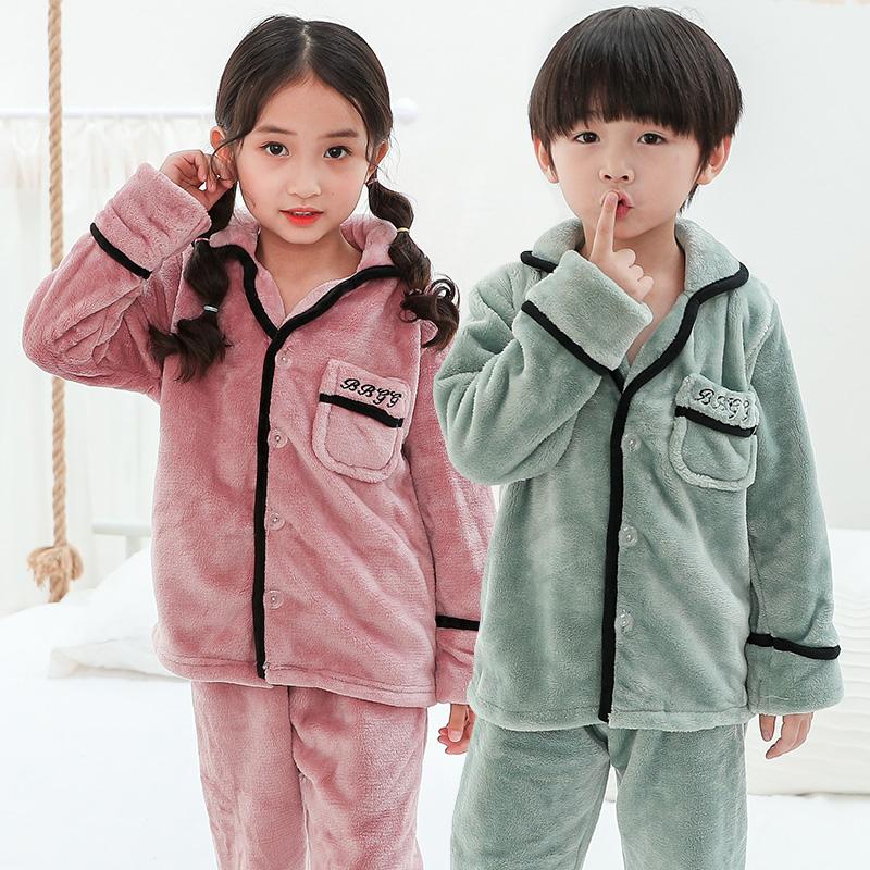 儿童睡衣法兰绒加厚男孩女童秋冬季双面珊瑚绒家居服套装宝宝保暖