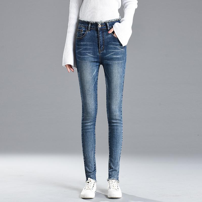 秋新款韩版修身显瘦小脚牛仔裤女